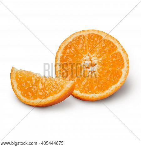 Fresh Orange With Orange Slices Isolated On White Background. Orange With Clipping Path.
