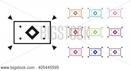 Black Magic Carpet Icon Isolated On White Background. Set Icons Colorful. Vector