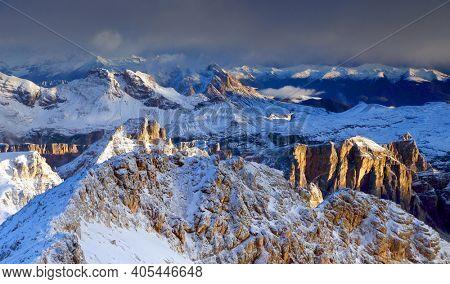 View of Sella gruppe or Gruppo di Sella, South Tirol, Dolomites mountains, Italy