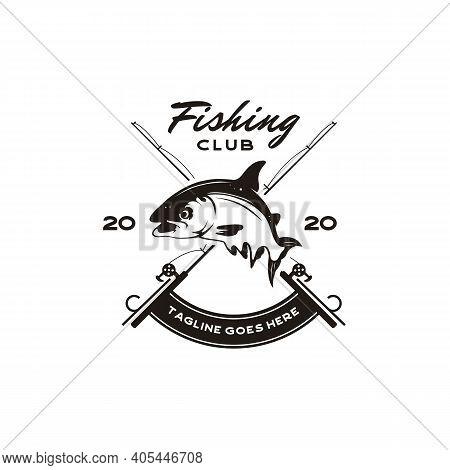 Vintage Angler Fishing Emblem Logo Design Vector