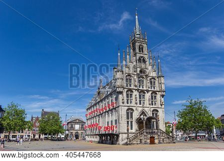 Historic Town Hall Building On The Central Market Square Of Gouda, Netherlands
