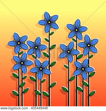 Decorative Stylized Colorful Flowers. Stylized Blue Flowers On An Orange Background. Vector Illustra