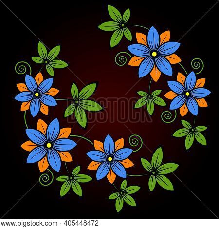 Decorative Stylized Colorful Flowers. Ornament From Stylized Flowers And Leaves On A Black Backgroun