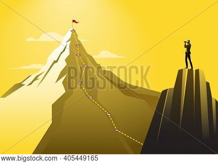 An Illustration Of A Businessman Using Telescope Looking To The Top Of A Mountain