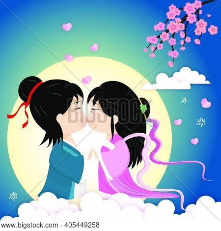Qixi Festival Or Tanabata Vector Illustration. Meeting Of The Cowherd And Weaver Girl In The Beautif