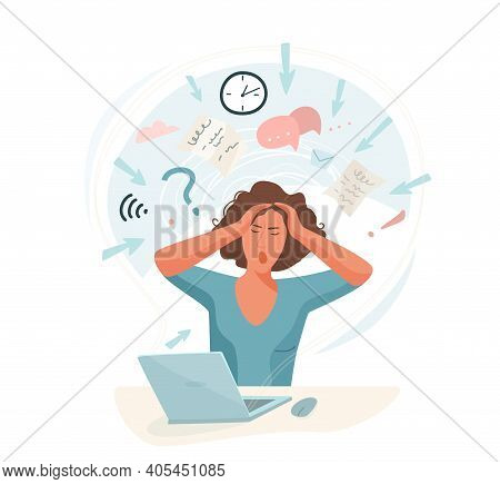 Information Overload Vector Illustration Concept. Young Woman Sitting At Table In Front Of Computer
