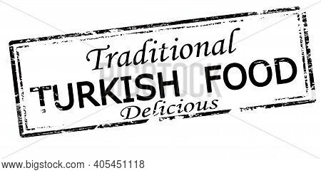 Rubber Stamp With Text Traditional Turkish Food Inside, Vector Illustration