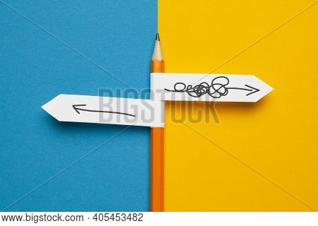 Pencil - Direction Indicator - Order And Chaos. Reorganization And Analysis, Choosing Right Solution
