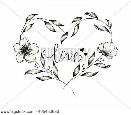 Vintage Floral Heart Monochrome Design Isolated On White, Ink Hand Drawn Heart With Flowers And Leav