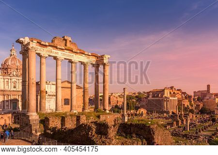 Sunset Over The Temple Of Saturn And Roman Forum Ancient Ruins, Rome, Italy