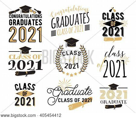 Congratulation Graduation Wishes Overlays, Lettering Labels Design Set. Retro Graduate Class Of 2021