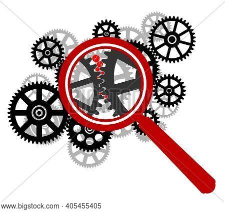Cogwheel Gear Mechanism Under Magnifying Glass. Gears Under Magnifying Glass. Defective Cogwheel Gea