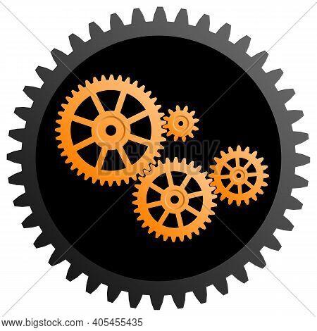 Golden Gear Mechanisms Inside A Black Gear. Gear Mechanism Image. Vector Illustration.
