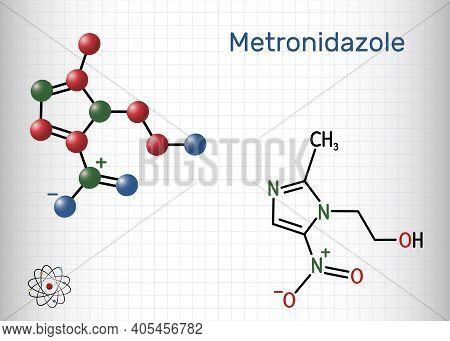 Metronidazole, Antiprotozoal Medication Molecule. It Is Antibiotic, Belonging To The Nitroimidazole