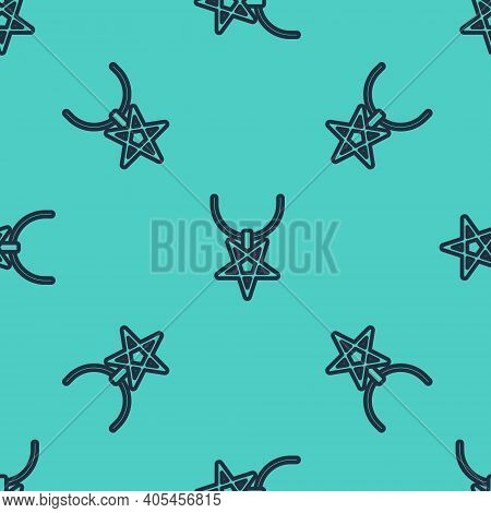 Black Line Pentagram On Necklace Icon Isolated Seamless Pattern On Green Background. Magic Occult St