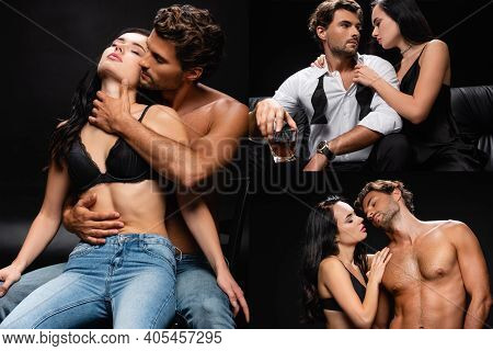 Collage Of Brunette Woman Seducing Elegant Man, And Passionate Couple In Jeans Embracing On Black.