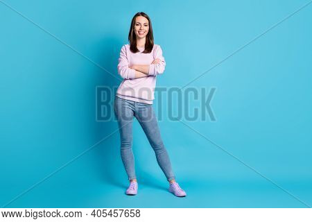 Full Body Photo Of Amazing Attractive Bossy Lady Hold Arms Crossed Manager Worker Representative Wea