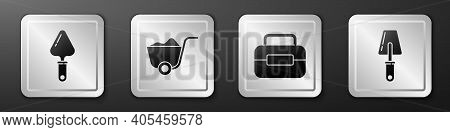 Set Trowel, Shovel, Toolbox And Trowel Icon. Silver Square Button. Vector