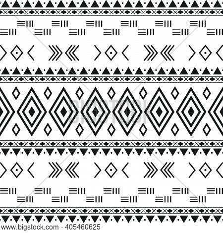 Black And White Tribal Ethnic Pattern With Geometric Elements, Traditional African Mud Cloth, Tribal