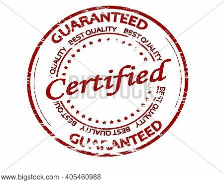 Rubber Stamp With Text Certified Guaranteed Inside, Vector Illustration