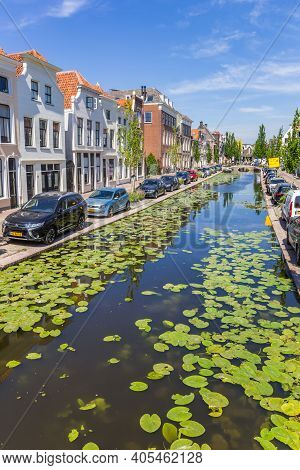 Gouda, Netherlands - May 21, 2020: Water Plants In The Turfmarkt Canal In Historic City Gouda, Nethe