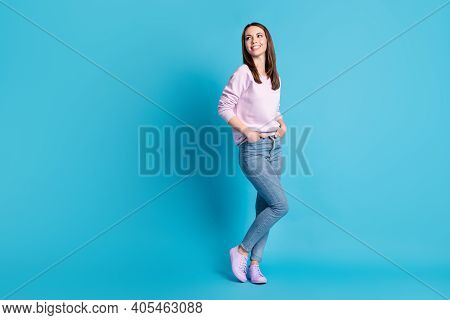Full Length Photo Pretty Charming Cute Lady Good Mood Look Side Empty Space Interested Hold Hands Je