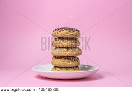 Shortbread Cookies On A Pink Background. Shortbread Cookies With Sprinkles On A White Plate. Sprinkl
