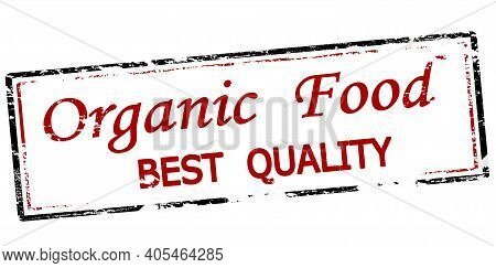 Rubber Stamp With Text Organic Food Inside, Vector Illustration