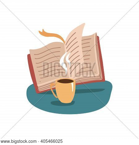 Open Book And Cup, Mug Of Hot Tea Or Coffee Beverage, Reading Club Or Book Blog Logo Template, Cute