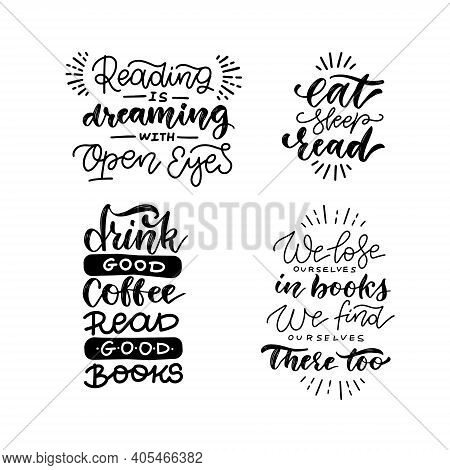 Reading Quote Lettering Set. Positive Calligraphy Postcard Or Poster Typography Element. Hand Writte