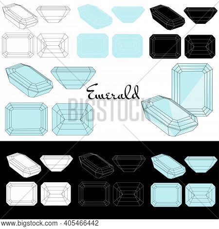 Emerald Cut. Types Of Diamond Cut. Four Sides Of Jewelry With Facets For Background, Carving And Col