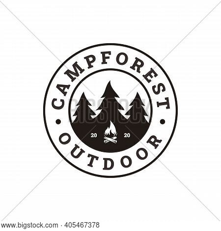 Fir Pines Evergreen Tree, Bonfire Camp Outdoor Adventure Stamp Badge Logo Design