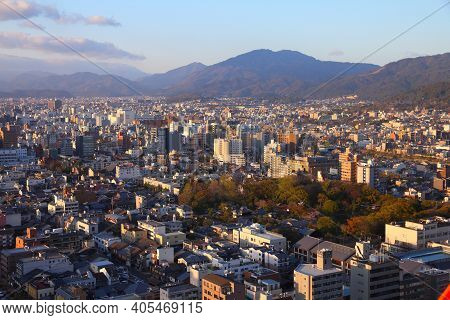 Kyoto, Japan - April 14, 2012: Aerial View Of Shimogyo And Higashiyama Wards Of Kyoto, Japan. Kyoto