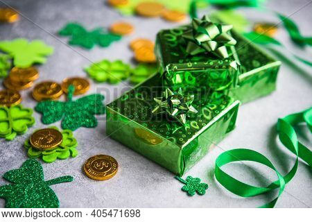Happy St. Patrick's Day. Card With  Lucky Clover, Green Gift Box. Irish Festival Symbol. Lucky Conce