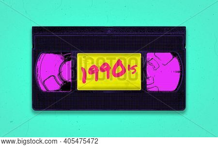 A Vibrant And Colorful Retro Synthwave 1990's Themed Old Black Vhs Video Tape Illustration With Dist
