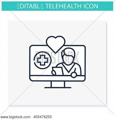 Telenursing Line Icon. Telehealth Medical Care. Virtual Nurse Assistance, Consultation. Telemedicine