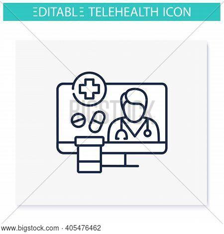 Medication Prescription Online Line Icon. Telehealth Medical Care. Virtual Doctors Treatment. Teleme