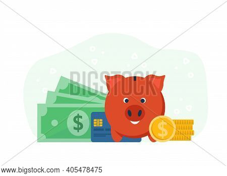 Accumulation Of Capital, Piggy Bank Concept. Money Management, Investment, Savings And Accumulating