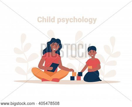 Psychotherapy Session. Consulting Psychology Concept. Woman Psychologist And Child Patient, Society