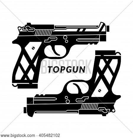 Two Black Handguns Isolated On White Background