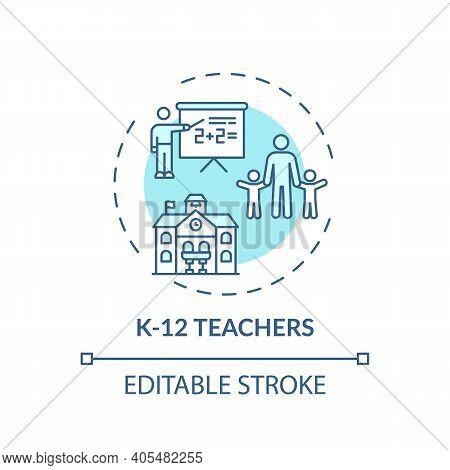 K 12 Teachers Concept Icon. Online Teaching Jobs Types. Learner Teaches Between Kindergarten And Twe