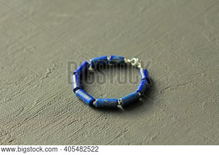 Bracelet Made Of Natural Stones. Blue Stone Lapis Lazuli. Handmade Jewelry. Handmade Bracelets On A