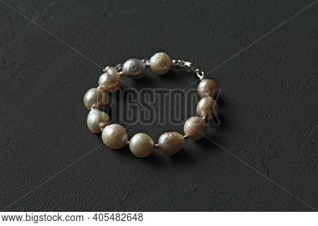 Bracelet Made Of Natural Kasumi Pearls And 925 Sterling Silver. Handmade Jewelry. Handmade Bracelets