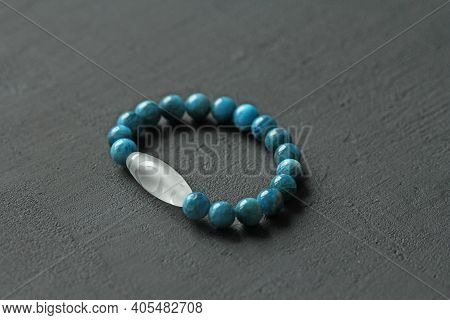 Bracelet Made Of Natural Stones. Blue Apatite And Rock Crystal Dzi Bead. Handmade Jewelry. Handmade