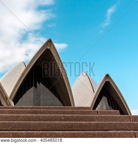 Sydney, Australia - January 12, 2009: Fragment Of Roofline The Sails Of Sydney Opera House In Sydney