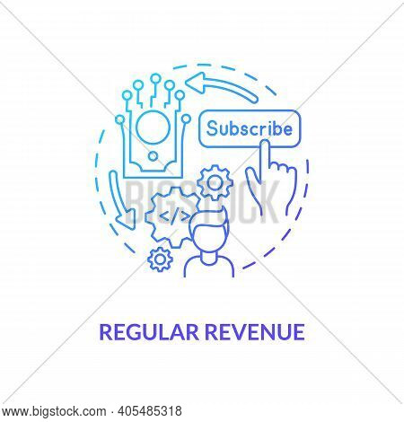 Regular Revenue Concept Icon. Saas Benefit For Developers Idea Thin Line Illustration. Paying Subscr
