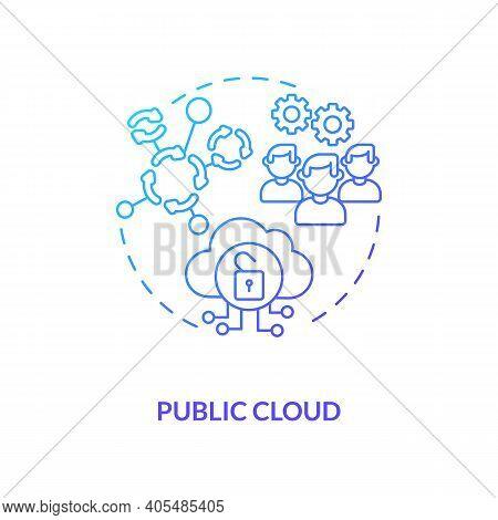 Public Cloud Concept Icon. Saas Deployment Model Idea Thin Line Illustration. Providing Cloud Resour