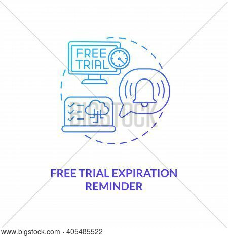 Free Trial Expiration Reminder Concept Icon. Free Saas Trial Marketing Idea Thin Line Illustration.