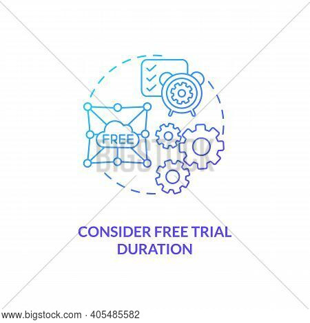 Considering Free Trial Duration Concept Icon. Saas Trial Marketing Idea Thin Line Illustration. Infl
