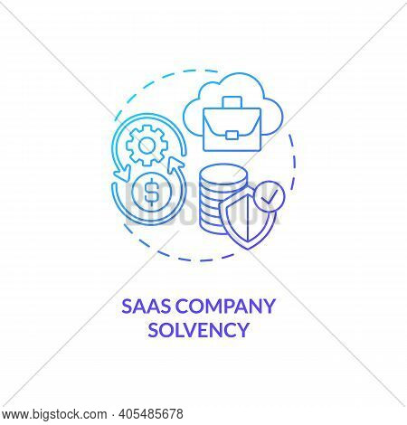 Saas Company Solvency Concept Icon. Software As Service Challenge Idea Thin Line Illustration. Enter